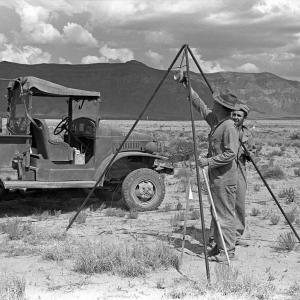 Benjamin C. Benjamin (L) and George Economou (R) setting up shock switches at the Trinity Site