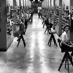 Calutron girls at their cubicles in the Y-12 Plant in 1944. Photo by Ed Westcott.