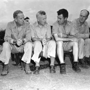 William Purnell, Thomas Farrell, Deak Parson, and Paul Tibbets on Tinian