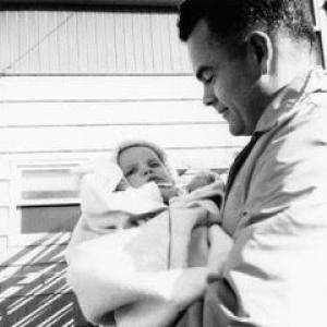 Trisha and her father in Richland, 1950