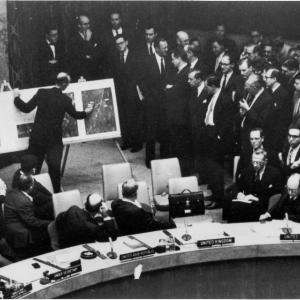 NPIC Deputy Director David Parker shows photographic evidence of missiles in Cuba at the UN, October 25, 1962