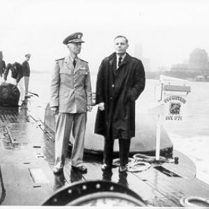 Dr. Waldo K. Lyon, chief research scientist for the U.S. Navy at the Arctic Submarine Laboratory, and Hyman G. Rickover