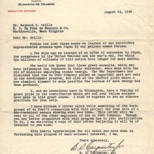 Letter from DuPont President to Raymond Grills