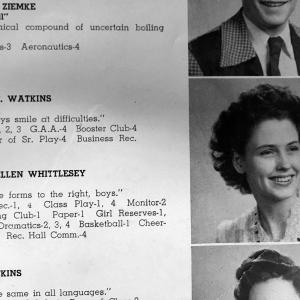 Mary Whittlesey's yearbook entry, 1945.