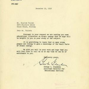 Letter from the AEC to Charles Yulish