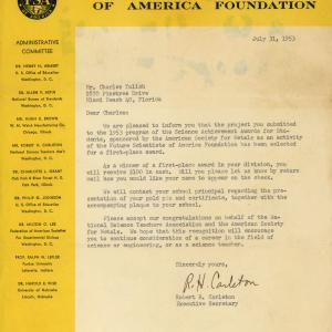 Award notification to Yulish from the Future Scientists of America Foundation