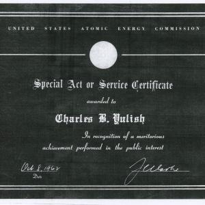 Atomic Energy Commission Special Act or Service Certificate awarded to Yulish in 1962