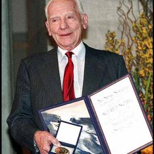 Joseph Rotblat after receiving the Nobel Peace Prize in 1995