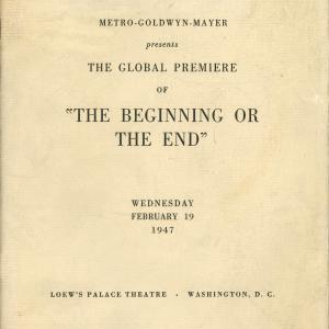 """Cover of """"The Beginning or The End"""" film program"""
