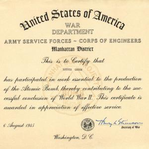 Esther's Manhattan Project certificate from the War Department