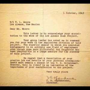 Commendation letter from J. Robert Oppenheimer to T. L. Moore in October 1945