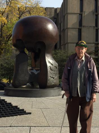 Ted Petry at the U of Chicago Monument to the Chicago Pile-1 scientists. Courtesy of Joseph Dowling.
