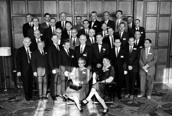 Scientists at the 20th reunion of the Chicago Pile-1 going critical. Photo Credit: University of Chicago Photographic Archive, [apf3-00242], Special Collections Research Center, University of Chicago Library.
