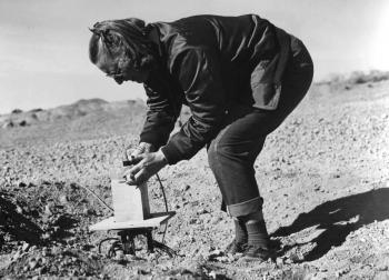 Frances Dunne working in Bayo Canyon. Image courtesy of the Los Alamos Historical Society.