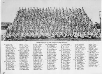 A group photo of the 393rd Bomb Squadron's Engineering & Armament Departments. Knisley is pictured fourth row from the top and fourth from the left