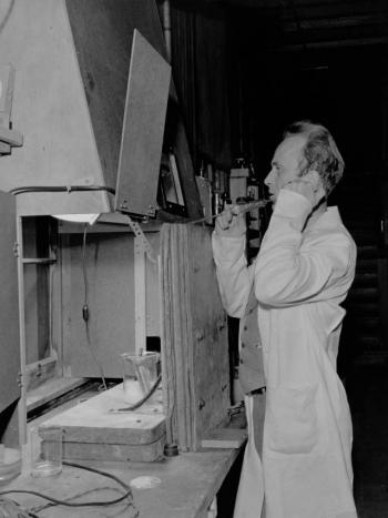 Joseph G. Hamilton with radiosodium experiment at Berkeley
