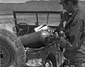 George Economou at work at the Trinity Site in 1945