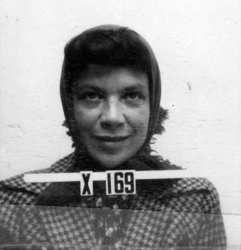 "Augusta ""Mici"" Teller's Los Alamos ID badge photo"