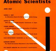 "The cover of the ""Bulletin of the Atomic Scientists"" with Martyl Langsdorf's clock, 1947."