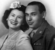 Anita and Nathan Katz on their wedding day, 1943.