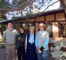 John Ruminer, Cindy Kelly, Helene Suydam, and Heather McClenahan in front of the Oppenheimer House