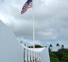 The USS Arizona Memorial. The memorial marks the resting place of 1,102 of the 1,177 sailors and Marines killed on the USS Arizona during the attack on Pearl Harbor.