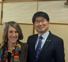 AHF President Cindy Kelly with Nagasaki Mayor Tomihisa Taue