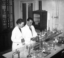 Irene and Frederic Joliot-Curie at work.