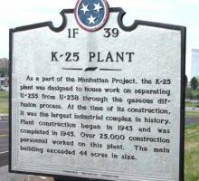 The sign outside the historic K-25 Plant in Oak Ridge
