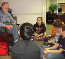 Students with Manhattan Project veteran Norman Brown