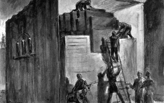 Building the Chicago Pile-1. One of the 24 John Cadel paintings recreating the CP-1 experiment