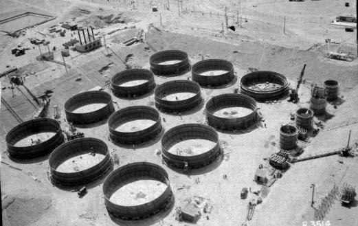 Hanford tank farm under construction