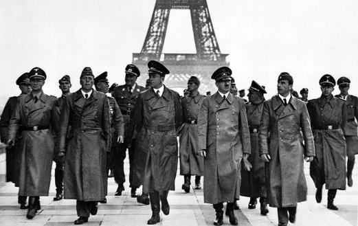 Adolf Hitler and leading Nazis by the Eiffel Tower after the fall of France