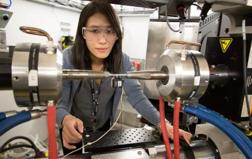 A scientist at the Spallation Neutron Source at ORNL. Photo courtesy of DOE.