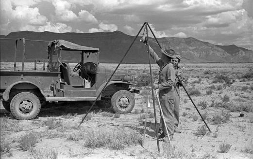 Manhattan Project workers at the Trinity Site before the test