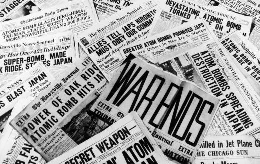 Newspapers announcing the end of World War II