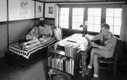 Los Alamos Ranch School students studying