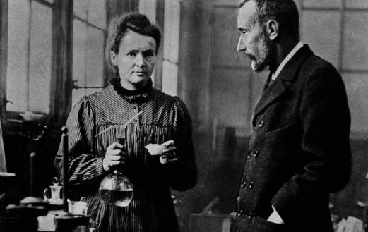 Marie and Pierre Curie in their laboratory.