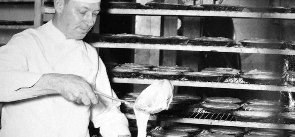 A cook at Hanford making pies
