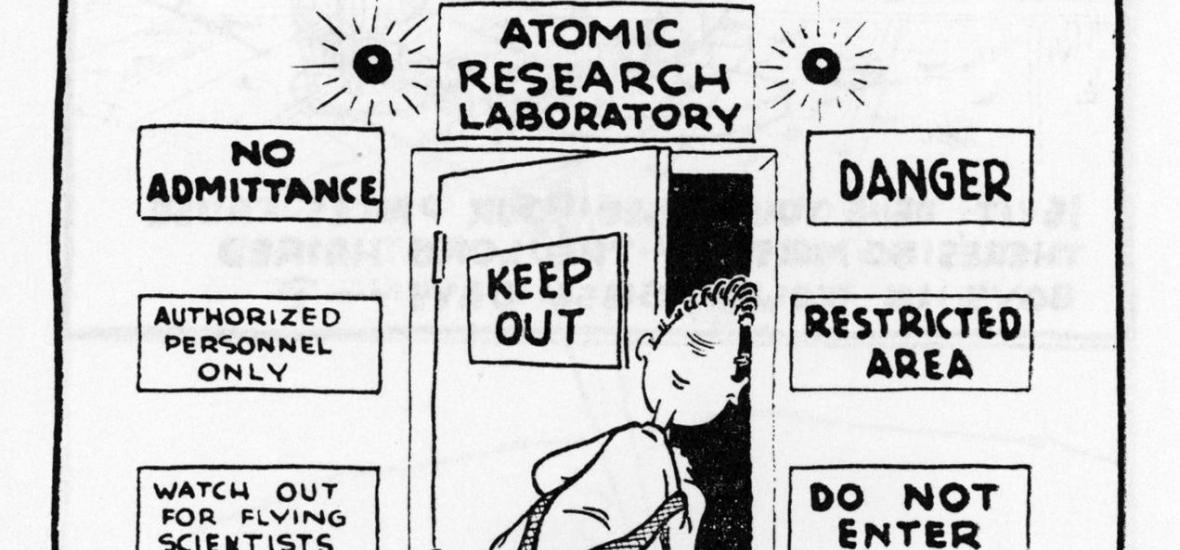 A Dupus Boomer cartoon by Dick Donnell on the importance of secrecy at the B Reactor
