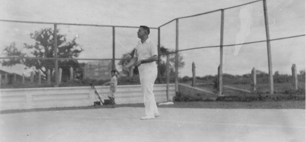 General Groves playing tennis as a young man, during an Army posting in Nicaragua