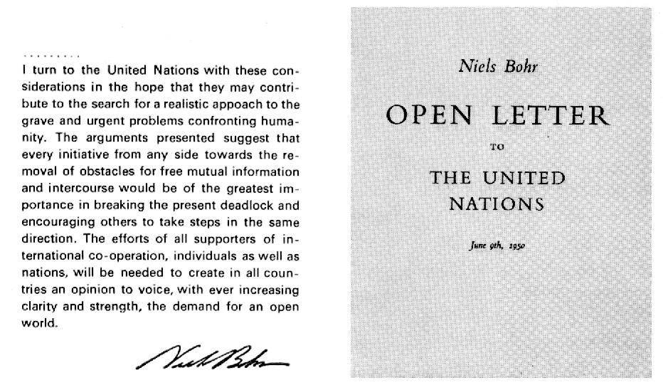 Bohr Letter to UN | Atomic Heritage Foundation